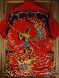 〜1950'S ART VOGUE TORCH FISHERMAN BACK PANEL HAWAIIAN SHIRT SZ/M