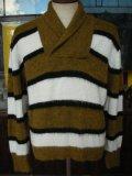 1950'S〜 CAMPUS SHAWL COLLAR BORDER SWEATER SIZE/M 40-42