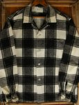 画像3: 1950'S COOPERS WHITE X BLACK PLAID PRINTED FLANNEL SHIRT SZ/L