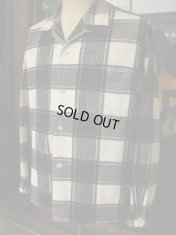 画像2: 1950'S COOPERS WHITE X BLACK PLAID PRINTED FLANNEL SHIRT SZ/L