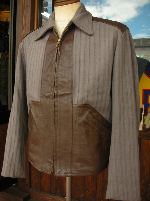 画像1: 1940'S UNKNOWN WOOL X LEATHER TWO TONE SPORTS JACKET