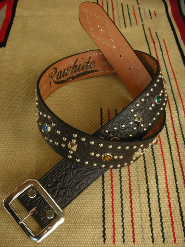 "画像1: RAWHIDE STUDDED & JEWELED BELT LOT-119/ 1-3/4""[44MM]"