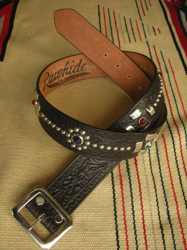 "画像1: RAWHIDE STUDDED & JEWELED BELT LOT-131/ 1-3/4""[44MM]"
