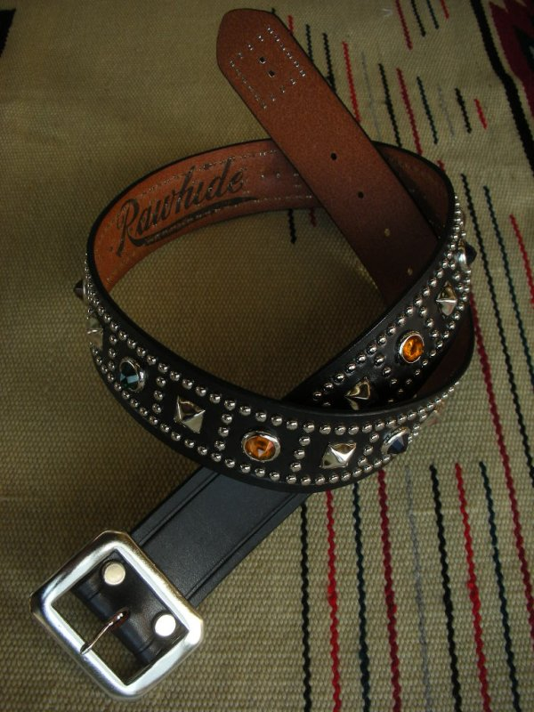 "画像1: RAWHIDE STUDDED & JEWELED BELT LOT-125/ 1-3/4""[44MM]"