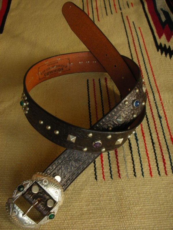 "画像1: RAWHIDE STUDDED & JEWELED BELT LOT-201/ 1-1/2""[38MM]"