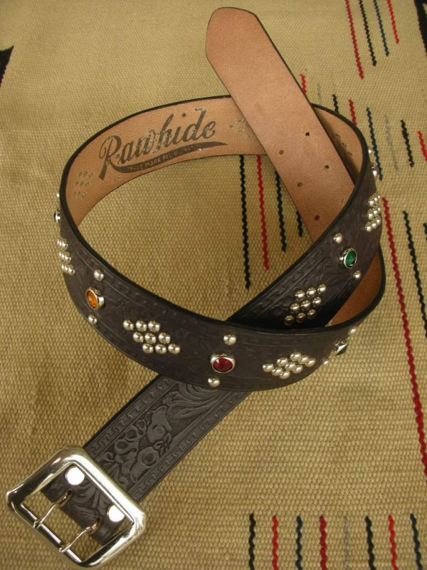 "画像1: RAWHIDE STUDDED & JEWELED BELT LOT-137/ 1-3/4""[44MM]"