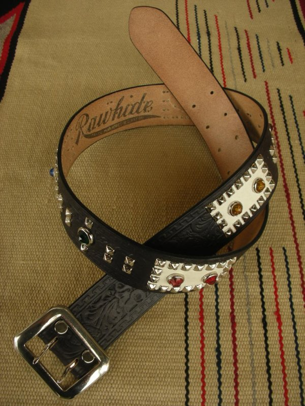 "画像1: RAWHIDE STUDDED & JEWELED BELT LOT-138/ 1-3/4""[44MM]"