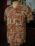 1950'S UNKNOWN ABSTRUCT PRINTED COTTON HAWAIIAN SHIRT SZ/M