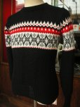 画像2: 1950'S ROBIN HOOD SNOWFLAKE BORDER BLACK JAQUARD KNIT SWEATER  (2)