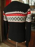 画像3: 1950'S ROBIN HOOD SNOWFLAKE BORDER BLACK JAQUARD KNIT SWEATER  (3)