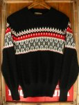 画像5: 1950'S ROBIN HOOD SNOWFLAKE BORDER BLACK JAQUARD KNIT SWEATER
