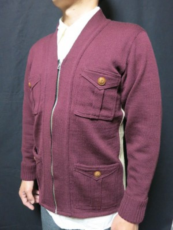 画像1: Dapper's Classical Fourpocket Zip Knit Cardigan LOT1081