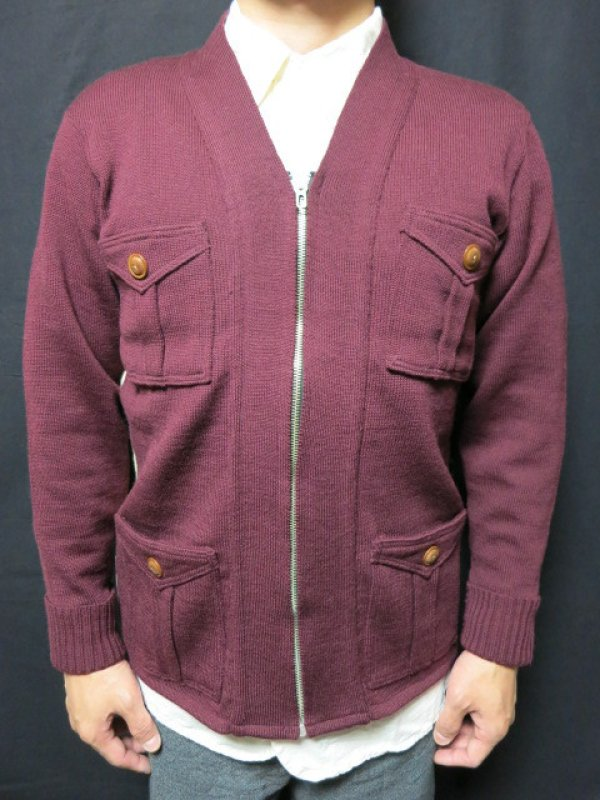 画像2: Dapper's Classical Fourpocket Zip Knit Cardigan LOT1081
