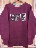 1940'S UNKNOWN SPS LETTERED BURGANDY LETTERMAN SWEATER
