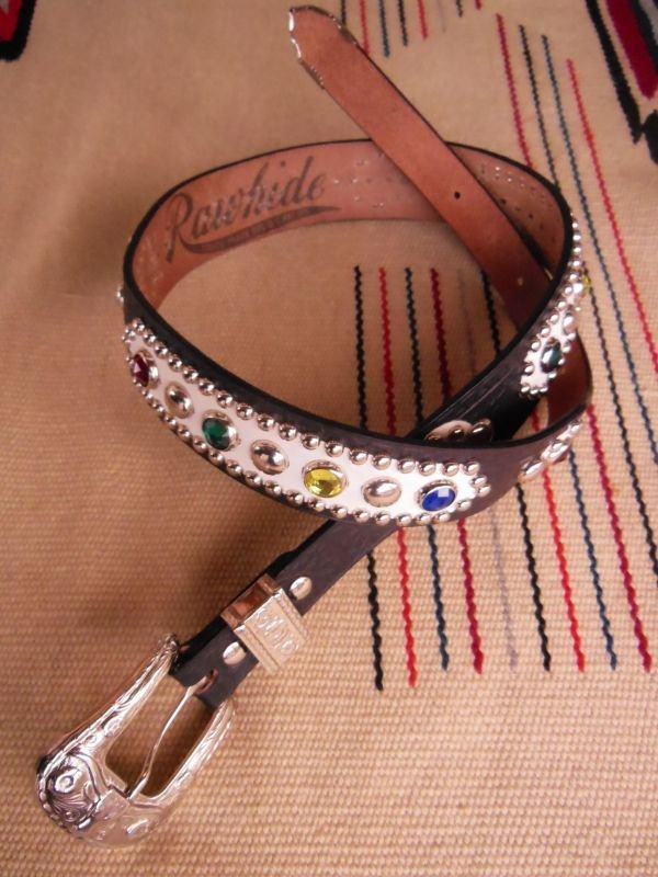 "画像1: RAWHIDE STUDDED & JEWELED BELT LOT-412/ 1-1/2""[38MM]"