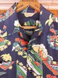 画像5: 1940'S PENNEY'S DARK NAVY RAYON HAWAIIAN SHIRT SZ/M (5)