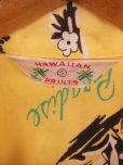 画像4: 1940'S HAWAIIAN PRINTS YELLOW RAYON HAWAIIAN SHIRT SZ/S