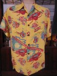 画像2: 1940'SMOORE'S HULA GIRL PRINTED RAYON HAWAIIAN SHIRT SZ/L (2)