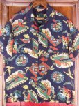 画像4: 1940'S PENNEY'S DARK NAVY RAYON HAWAIIAN SHIRT SZ/M (4)