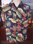 画像2: 1940'S PENNEY'S DARK NAVY RAYON HAWAIIAN SHIRT SZ/M (2)