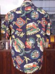 画像3: 1940'S PENNEY'S DARK NAVY RAYON HAWAIIAN SHIRT SZ/M (3)