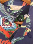 画像6: 1940'S PENNEY'S DARK NAVY RAYON HAWAIIAN SHIRT SZ/M (6)