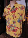 1940'SMOORE'S HULA GIRL PRINTED RAYON HAWAIIAN SHIRT SZ/L