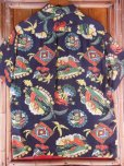画像10: 1940'S PENNEY'S DARK NAVY RAYON HAWAIIAN SHIRT SZ/M (10)