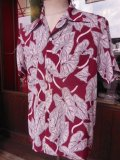 1950'S MANHATTAN LEAVES PRINTED RAYON HAWAIIAN SHIRT SZ/M