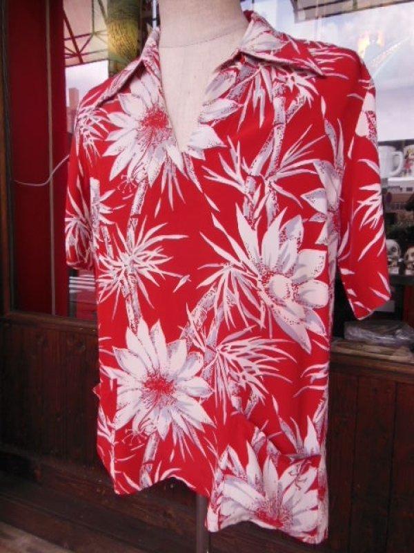 画像1: 〜1950'S CATARINA BAMBOO FLOWER PRINTED RAYON HAWAIIAN PULLOVER SHIRT/M
