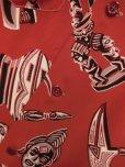 画像7: 1950'S ROYAL OAKS AFRICAN MASKS PRINTED RAYON HAWAIIAN SHIRT SZ/L