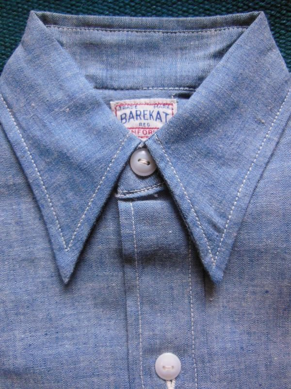 画像1: 1950'S DEADSTOCK BAREKAT BLUE CHAMBRAY BOYS SHIRT /SIZE8