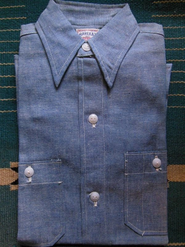 画像2: 1950'S DEADSTOCK BAREKAT BLUE CHAMBRAY BOYS SHIRT /SIZE8