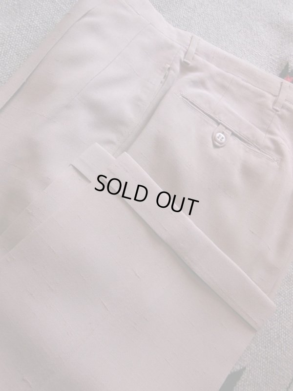 画像1: 1950'S UNKNOWN BEIGE FLECK RAYON ACETATE  SLACKS W33 X L30