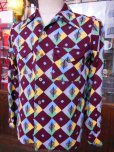 画像15: 1950'S A SHERMAN CREATION HARLEQUIN PRINT RAYON SHIRT SZ/SMALL