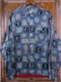 1950'S CLADRITE VANGUARD PRINTED  RAYON SHIRT SZ/MEDIUM