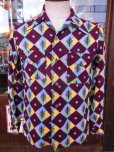 画像14: 1950'S A SHERMAN CREATION HARLEQUIN PRINT RAYON SHIRT SZ/SMALL