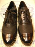画像2: 1950'S THE FROSHEIM SHOE BLACK NYLON MESH TWO TONE SHOES 9-1/2D  (2)