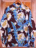 1950'S TROPICANA DARK BROWN HAWAIIAN SHIRT L/S/SZ/MEDIUM