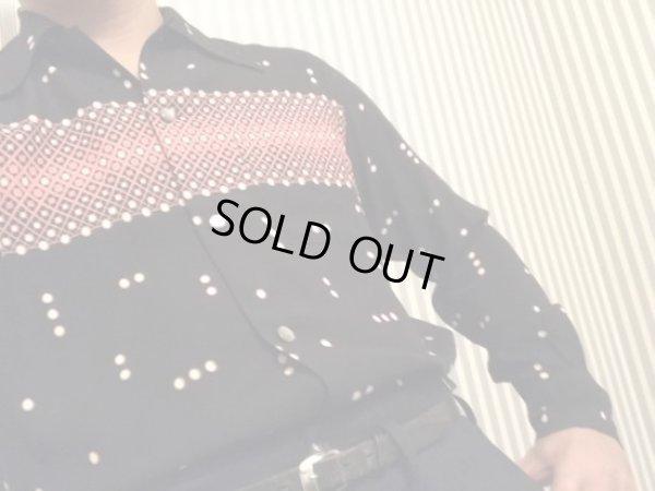 画像1: The GROOVIN HIGH Vintage Atomic Print Style Box Shirt Long Sleeves/Black