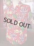 1950'S MOHAN'S RED RAYON HAWAIIAN SHIRT SZ/M