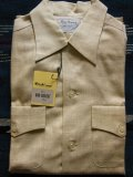 1950'S DEADSTOCK MARLBORO LEMON YELLOW FLECK COTTON RAYON SHIRT SZ/M