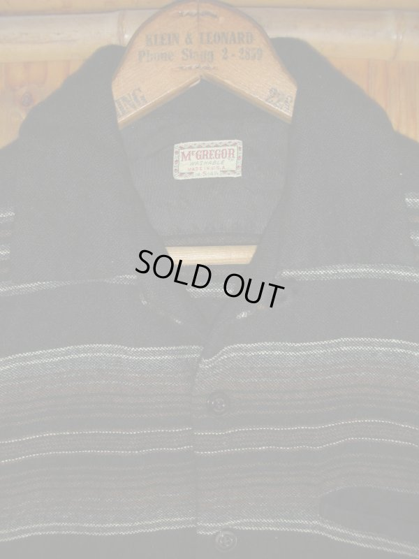 画像5: 1950'S McGREGOR BLACK WOOL BORDER SHIRT  SZ/S