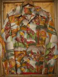 〜1950'S JIM PENNEY WESTERN PICTURE PRINTED COTTON SHIRT SZ/YOUTH18