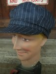 画像1: NEW YORK HAT/#6273/LINEN STRIPE SPITFIRE/NAVY (1)