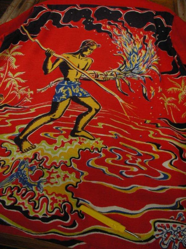 画像5: 〜1950'S ART VOGUE TORCH FISHERMAN BACK PANEL HAWAIIAN SHIRT SZ/M