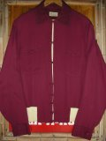 1950'S VAN HUSEN BURGUNDY PIQUE RAYON RIB SHIRT/MEDIUM