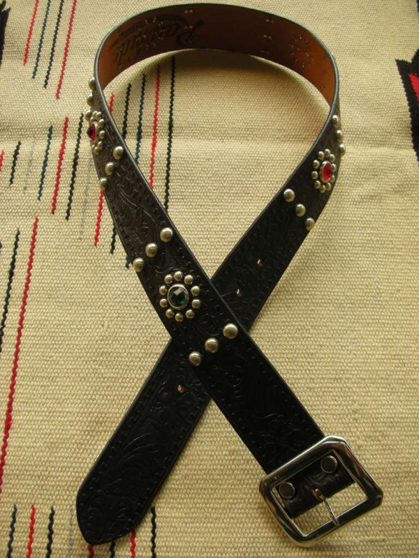 "画像2: RAWHIDE STUDDED & JEWELED BELT LOT-103A/ 1-3/4""[44MM]"