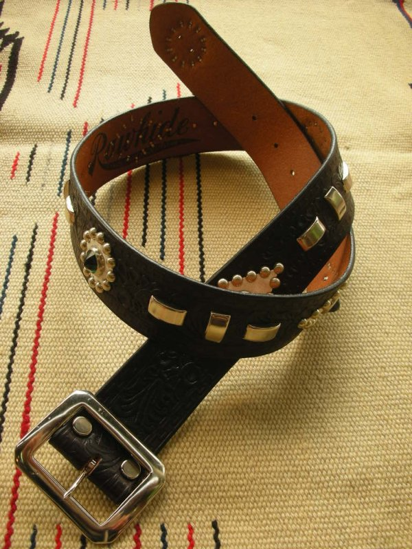 "画像1: RAWHIDE STUDDED & JEWELED BELT LOT-118/ 1-3/4""[44MM]"