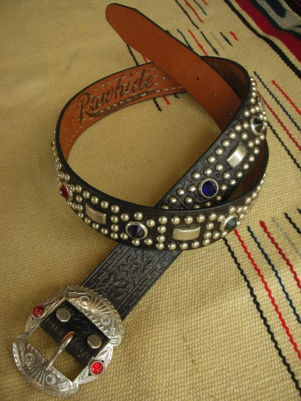 "画像1: RAWHIDE STUDDED & JEWELED BELT LOT-220/ 1-1/2""[38MM]"